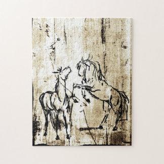Arte equino que alza caballos puzzle