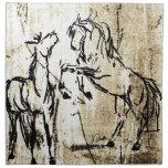 Arte equino que alza caballos servilletas imprimidas