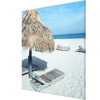 Arte escénico tropical de la cabaña de la playa impresiones en lona