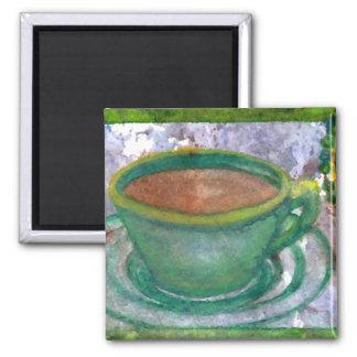 Arte esmeralda del café de CricketDiane del café Imán Cuadrado