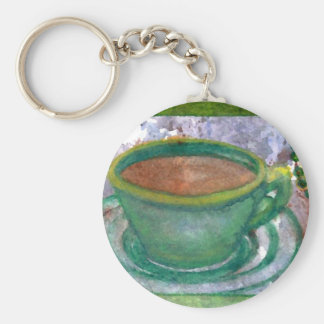 Arte esmeralda del café de CricketDiane del café Llavero Redondo Tipo Pin