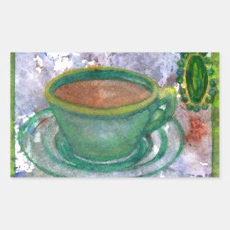 Arte esmeralda del café de CricketDiane del café Pegatina Rectangular