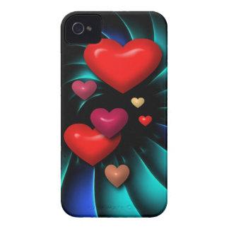 Arte espiral flotante de los corazones rojos iPhone 4 Case-Mate protector