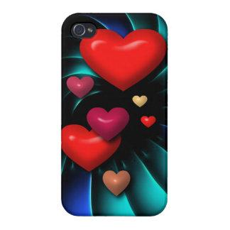 Arte espiral flotante de los corazones rojos iPhone 4 cárcasa