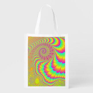 Arte espiral infinito psicodélico brillante del bolsa reutilizable