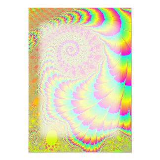 """Arte espiral infinito psicodélico brillante del invitación 5"""" x 7"""""""