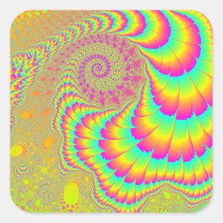 Arte espiral infinito psicodélico brillante del pegatina cuadrada