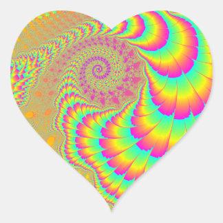 Arte espiral infinito psicodélico brillante del pegatina en forma de corazón