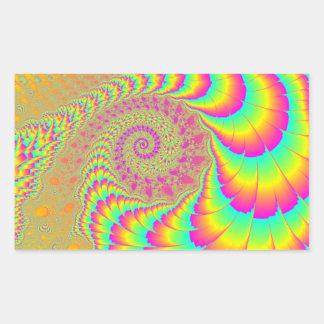 Arte espiral infinito psicodélico brillante del pegatina rectangular