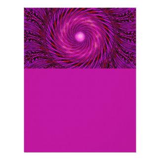 Arte espiral negro rosado del caleidoscopio de la membrete personalizado