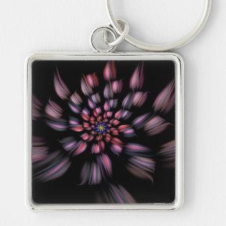 Arte espiral púrpura y negro del fractal de la flo llavero cuadrado plateado