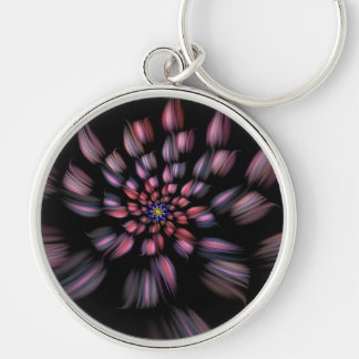 Arte espiral púrpura y negro del fractal de la flo llavero redondo plateado