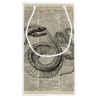 Arte esquelético de la página del diccionario del bolsa de regalo pequeña