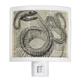 Arte esquelético de la página del diccionario del lámpara de noche