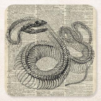 Arte esquelético de la página del diccionario del posavasos personalizable cuadrado