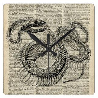 Arte esquelético de la página del diccionario del reloj cuadrado