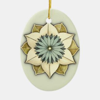 Arte estilizado del pétalo de la flor del rosetón adorno navideño ovalado de cerámica