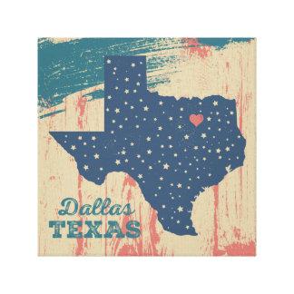 Arte estrellado de Tejas - Dallas Impresión En Lienzo Estirada