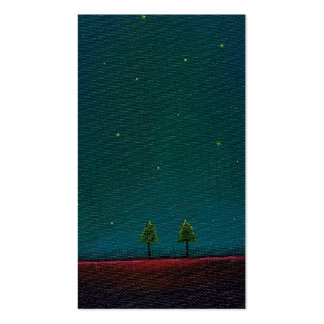 Arte estrellado oscuro del árbol de la naturaleza tarjetas de visita