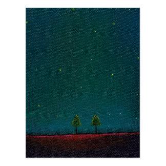 Arte estrellado oscuro del árbol de la naturaleza tarjetas postales