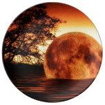 Arte estupendo de la luna platos de cerámica