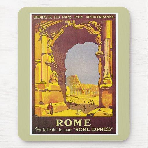 Arte expreso del poster del viaje de Roma Italia R Alfombrillas De Raton