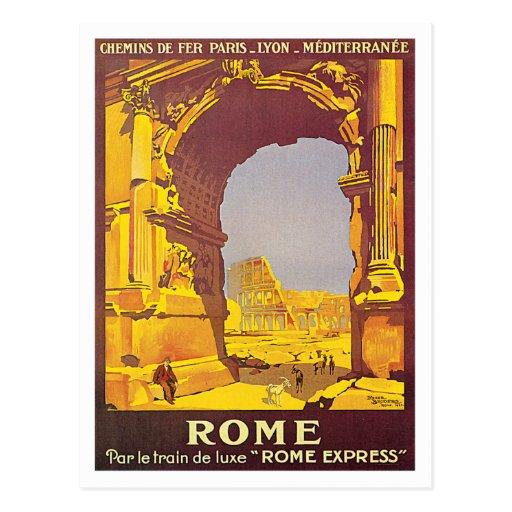 Arte expreso del poster del viaje de Roma Italia Tarjeta Postal