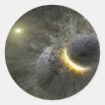 Arte extranjero del espacio de la colisión del pla pegatinas redondas
