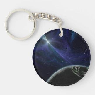 Arte extranjero del espacio del planeta del pulsar llavero redondo acrílico a doble cara