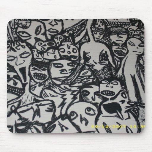 Arte extraño de la original del paciente mental de alfombrilla de ratón
