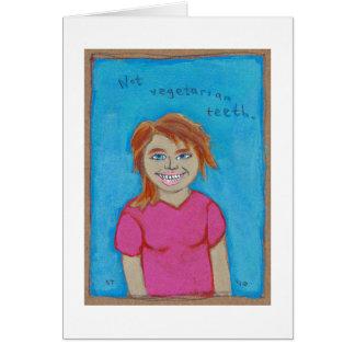 Arte extraño de los chicas de los omnívoros tarjeta de felicitación