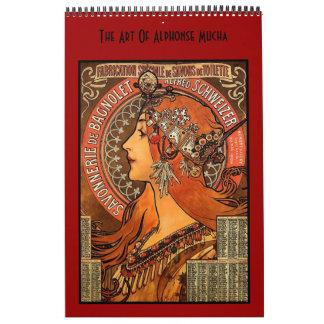 Arte famoso de las imágenes de Alfonso Mucha 14 Calendario De Pared