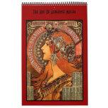 Arte famoso de las imágenes de Alfonso Mucha 14 de Calendario De Pared