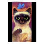 Arte felino de la mariposa del gato siamés - multi tarjeton