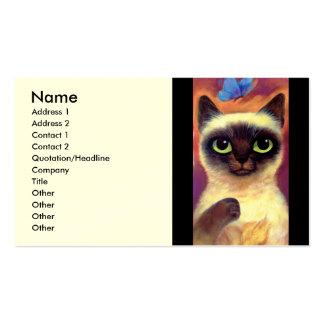 Arte felino de la mariposa del gato siamés - multi tarjetas de visita