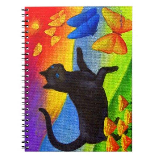 Arte felino de la pintura del gato del cuaderno es