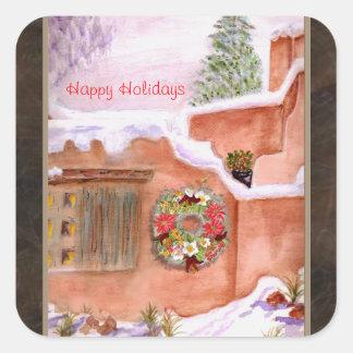 Arte feliz de Adobe de la estación del invierno Pegatina Cuadrada