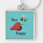 Arte feliz de la impresión de la fresa de la abeja llaveros personalizados