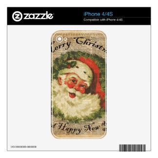 Arte feliz de los saludos del navidad de Santa del Skin Para El iPhone 4