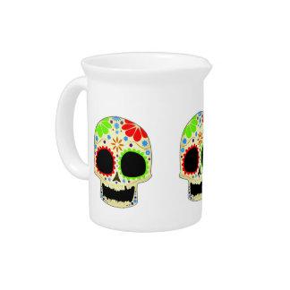 Arte feliz del cráneo del azúcar jarras de beber