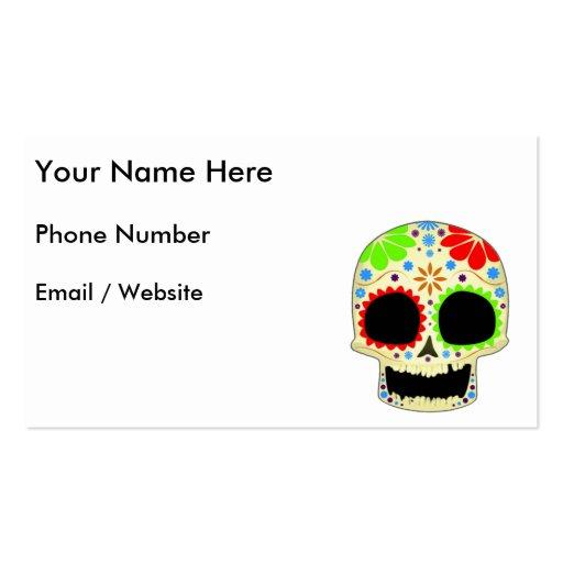 Arte feliz del cráneo del azúcar plantillas de tarjetas de visita