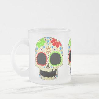 Arte feliz del cráneo del azúcar taza de cristal