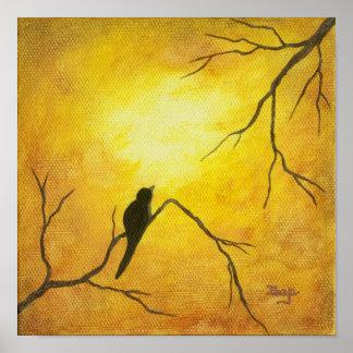 Arte feliz del pájaro en la pintura de oro de la s posters