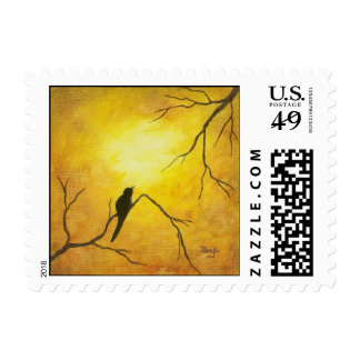 Arte feliz del pájaro en la pintura de oro de la sello