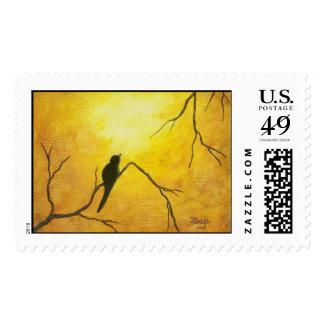 Arte feliz del pájaro en la pintura de oro de la sellos