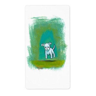 Arte feliz flotante de la diversión perrito blanco etiquetas de envío