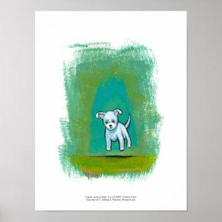 Arte feliz flotante de la diversión perrito blanco impresiones