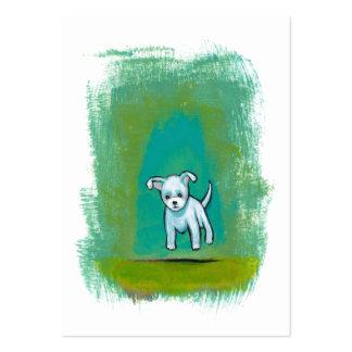 Arte feliz flotante de la diversión perrito blanco plantilla de tarjeta de visita