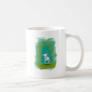 Arte feliz flotante de la diversión perrito blanco tazas