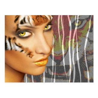 Arte femenino de Therian del tigre de Otherkin, ma Postales